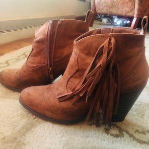 Brown Fringe Heel Booties! Size 7